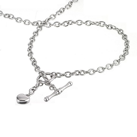 9ct White Gold Heart Charm T Bar Necklace