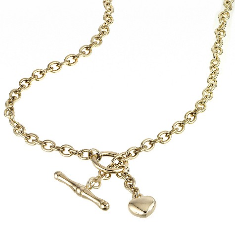 9ct yellow gold heart charm t-bar necklace