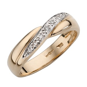 9ct Yellow Gold And Rhodium Plated Diamond Ring