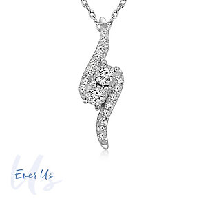Ever Us 14ct White Gold 0.17ct 2 stone Pendant - Product number 4626893