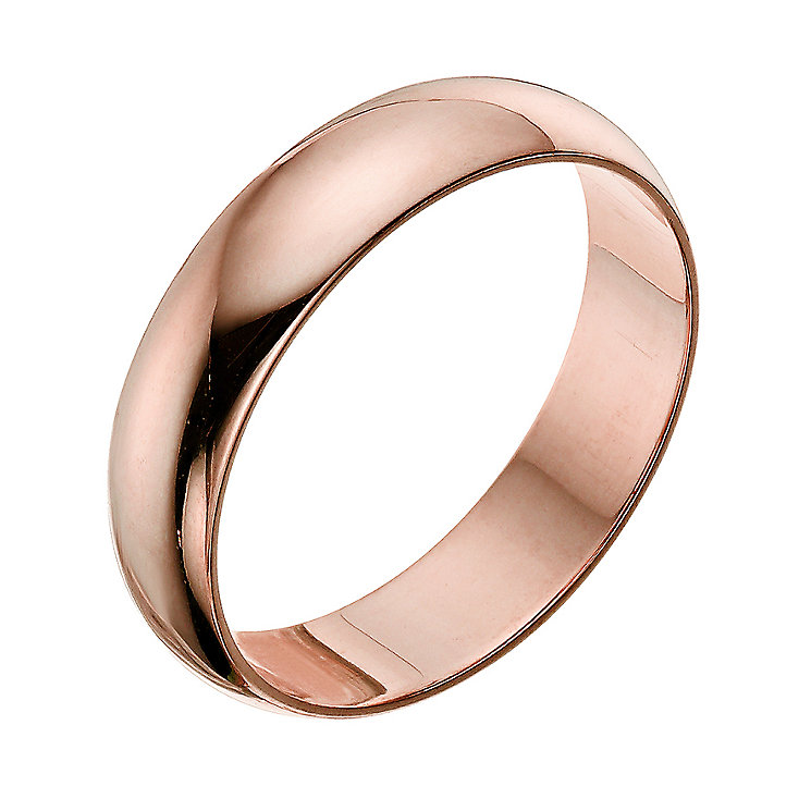 9ct rose gold extra heavy D-shape 8mm ring - Product number 4640276