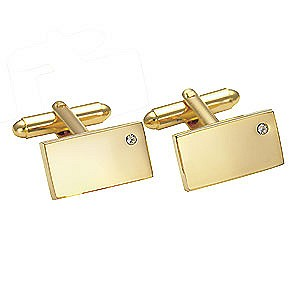 Gold-Coloured Crystal Cufflinks