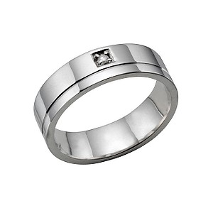Mens 18ct white gold diamond wedding ring