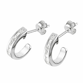 Sterling silver channel set cubic zirconia hoop earrings - Product number 4652878