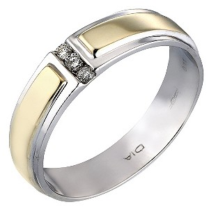 Groom's Two-colour Gold Diamond Wedding Ring - Product number 4659481
