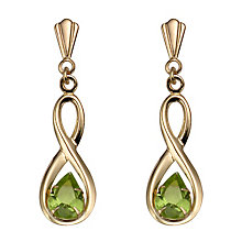 9ct Gold Peridot Figure of Eight Drop Earrings - Product number 4668618