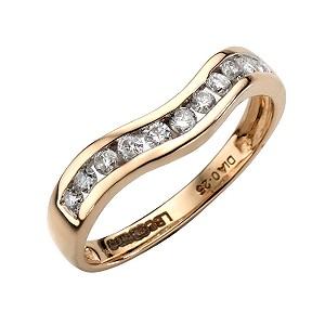 9ct Yellow Gold Quarter Carat Diamond Wave Ring