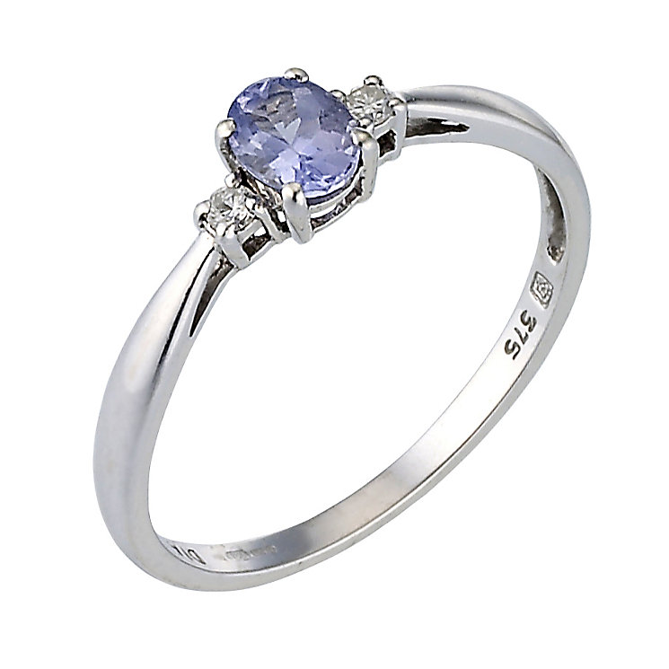 9ct White Gold Tanzanite Amp Diamond Ring