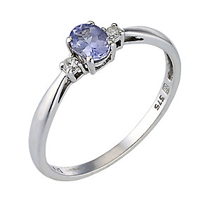 White Gold Tanzanite & Diamond Ring - Product number 4676459