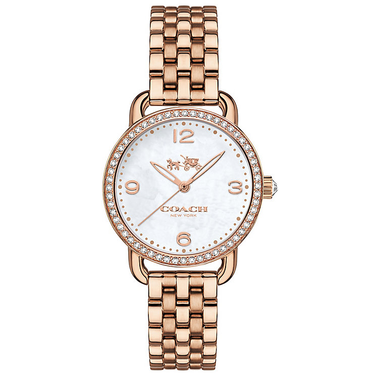 Coach Ladies' Rose Gold tone Stone Set Bracelet Watch - Product number 4677579