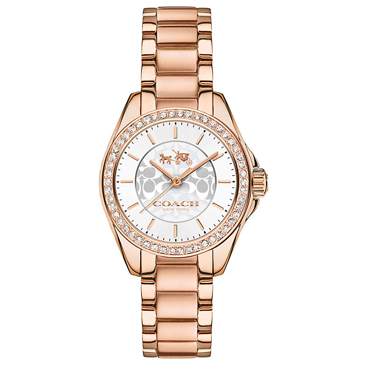 Coach Ladies' Rose Gold tone Silver Dial Bracelet Watch - Product number 4677625