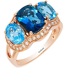 Le Vian 14ct Strawberry Gold Deep Sea Blue Topaz Ring - Product number 4683633