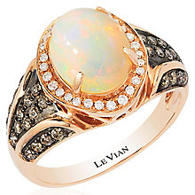 Le Vian 14ct Strawberry Gold Opal and Diamond Band - Product number 4685172