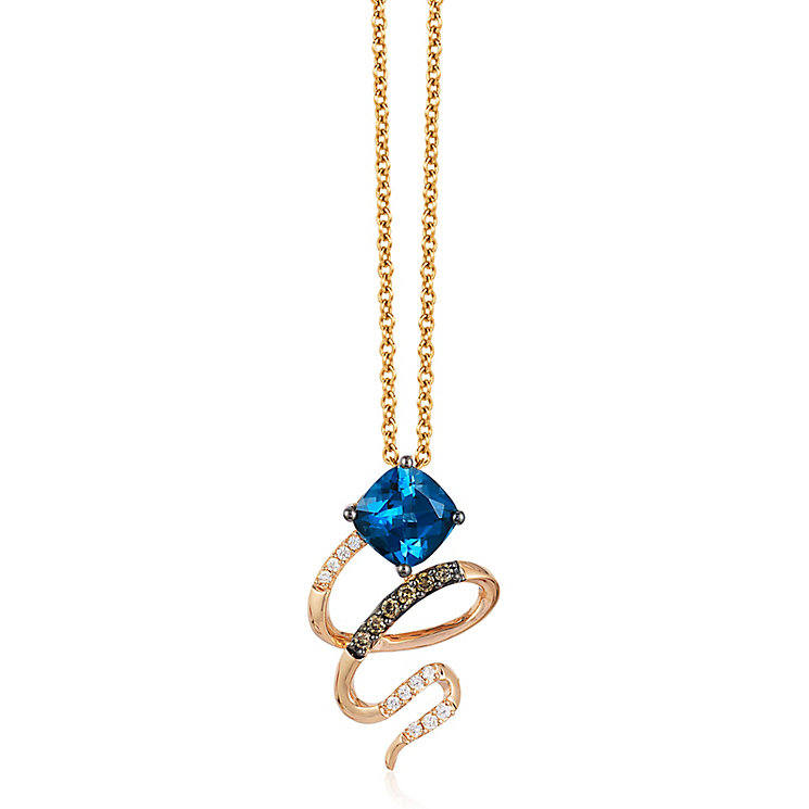 Le Vian 14ct Strawberry Gold Deep Sea Blue Topaz Pendant - Product number 4685938