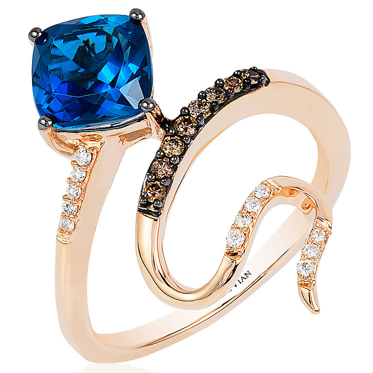 Le Vian 14ct Strawberry Gold Sea Deep Blue Topaz Ring - Product number 4685946
