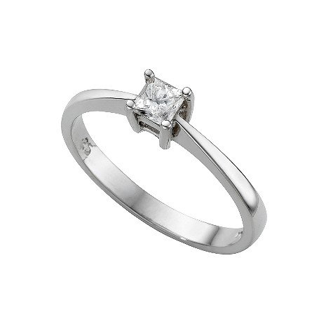 Platinum quarter carat princess cut diamond solitaire ring