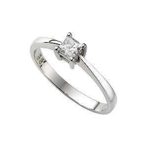 Platinum third carat princess cut diamond solitaire ring - Product ...