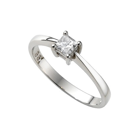 Platinum third carat princess cut diamond solitaire ring