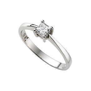 Platinum third carat princess cut diamond solitaire ring - Product number 4692020