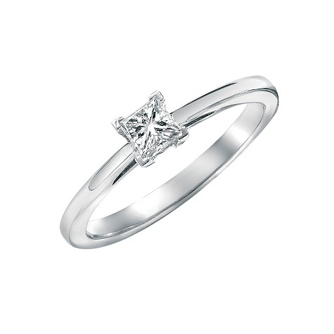 stunning engagement ring features a third carat princess cut diamond ...