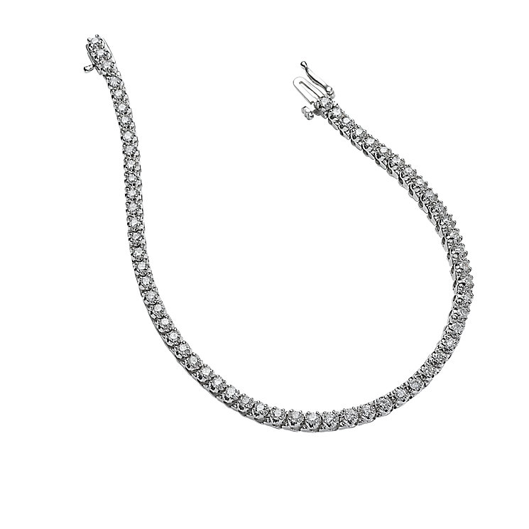 18ct white gold three carat diamond tennis bracelet - Product number 4695968
