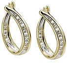 9ct gold diamond hoop earrings - Product number 4696026