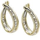 9ct gold diamond hoop earrings - Product number 4696026