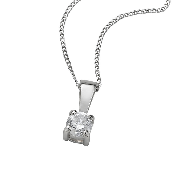 9ct white gold quarter carat diamond pendant necklace - Product number 4696182
