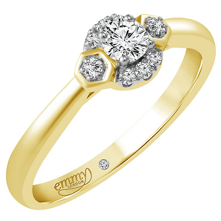 Emmy London 18ct Yellow Gold 1/5ct Diamond Solitaire Ring - Product number 4706498
