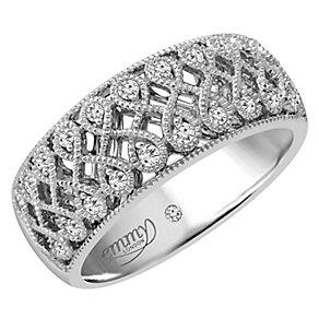 Emmy London Palladium 0.15 Carat Diamond Set Ring - Product number 4713591