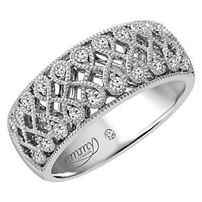 Emmy London Platinum 0.15 Carat Diamond Set Ring - Product number 4714113