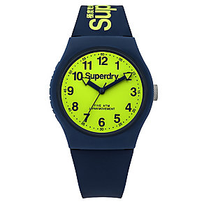 Superdry Urban Men's Lime Dial Blue Silicone Strap Watch - Product number 4716019