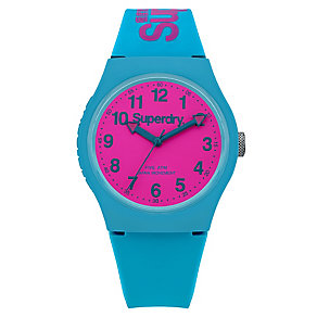 Superdry Urban Men's Pink Dial Green Silicone Strap Watch - Product number 4716116