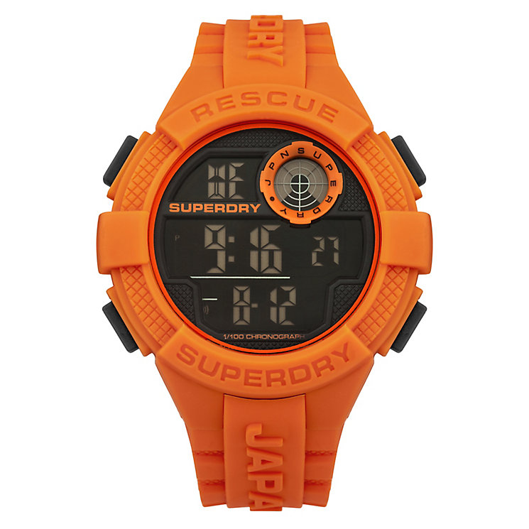 Superdry Radar Men's Black Dial Orange Silicone Strap Watch - Product number 4716264