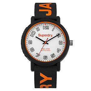 Superdry Campus Men's Black & Orange Silicone Strap Watch - Product number 4716302