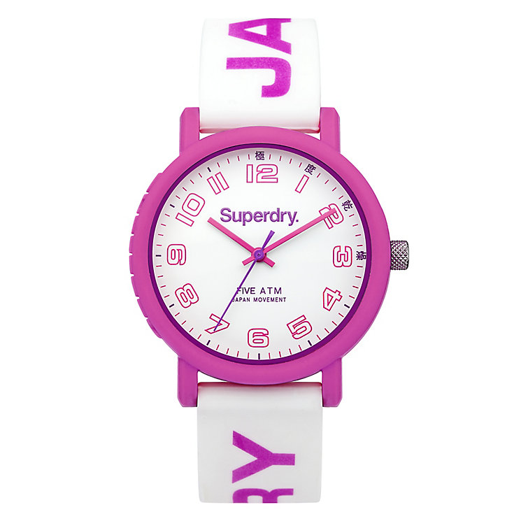 Superdry Campus Ladies' Pink & White Silicone Strap Watch - Product number 4716388