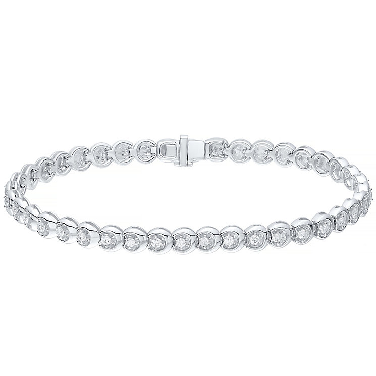 9ct white gold 1ct c-link diamond bracelet - Product number 4716957