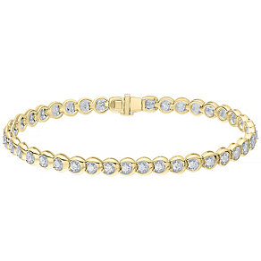 9ct yellow gold 1ct c-link diamond bracelet - Product number 4716965