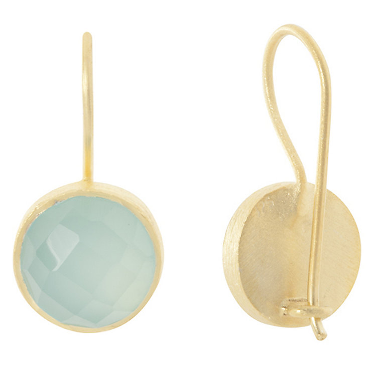 Pomegranate Cupcake Gold-Plated Chalcedony Drop Earrings - Product number 4717155
