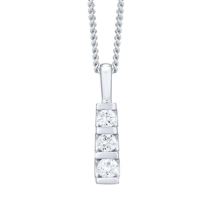 9ct white gold trilogy diamond pendant necklace - Product number 4720008