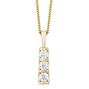 9ct yellow gold three diamond pendant necklace - Product number 4720040
