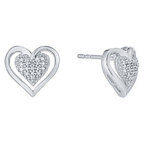 Argentium Silver Diamond Cluster Heart Stud Earrings - Product number 4721659