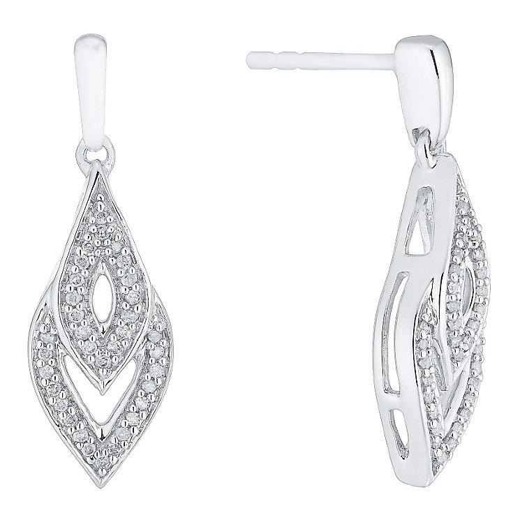 Argentium Silver Diamond Set Drop Earrings - Product number 4721977