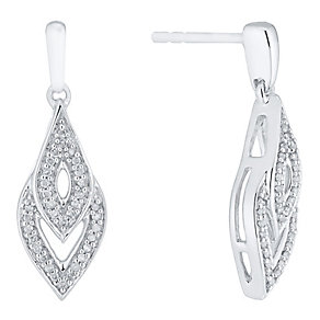 Argentium Silver Diamond Set Drop Earrings - Product number 4721977