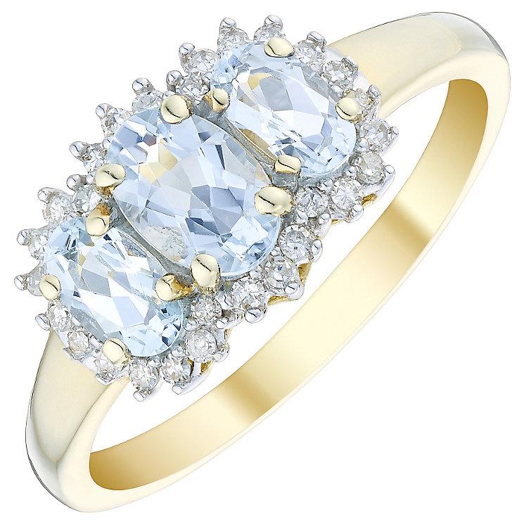9ct Gold 3 Stone Aquamarine & 0.10 Carat Diamond Ring - Product number 4722345