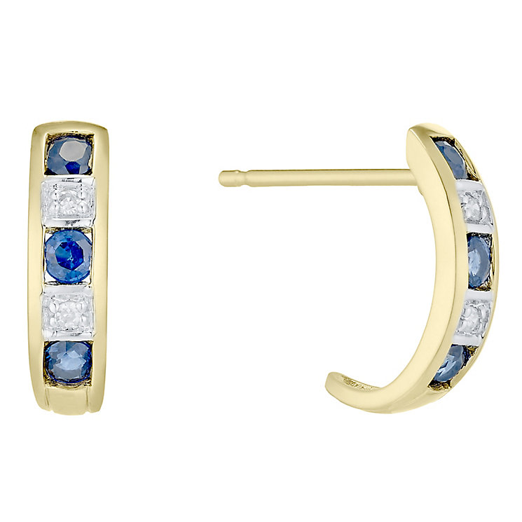 9ct Gold Sapphire and Diamond Half Hoop Earrings