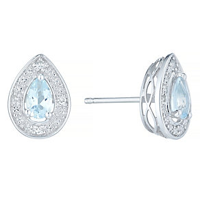 9ct White Gold Aquamarine & Diamond Pear Shape Stud Earrings - Product number 4722515