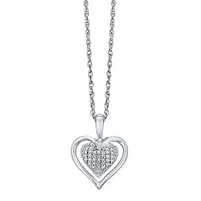 Sterling Silver Diamond Set Heart Pendant - Product number 4722728