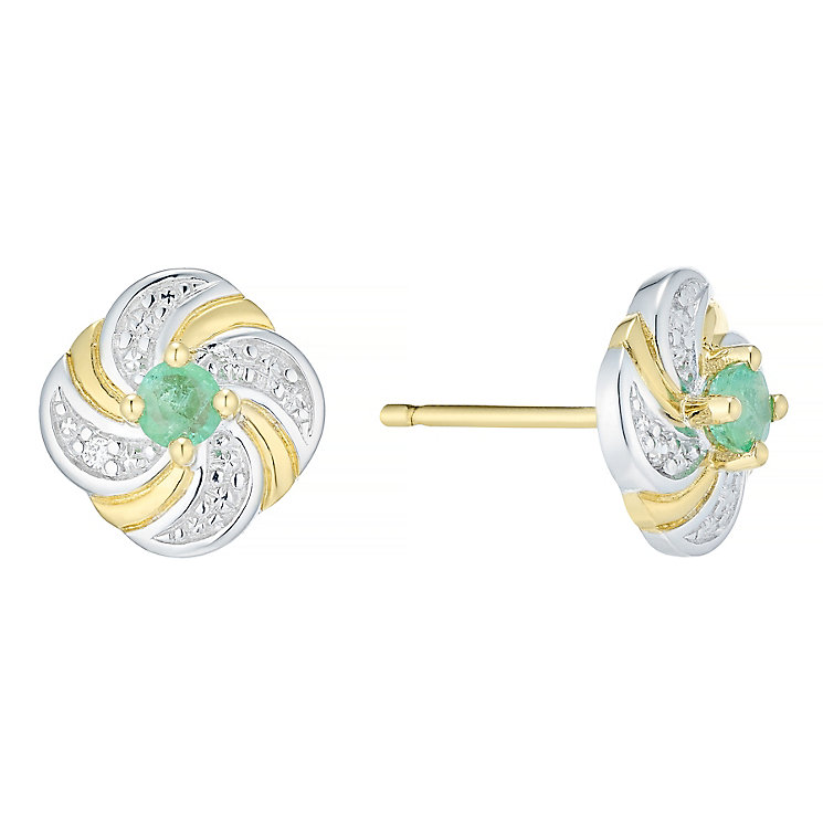 9ct Gold Emerald & Diamonds Flower Stud Earrings - Product number 4722736