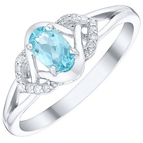 9ct White Gold Oval Apatite & Diamond Crossover Ring - Product number 4722787